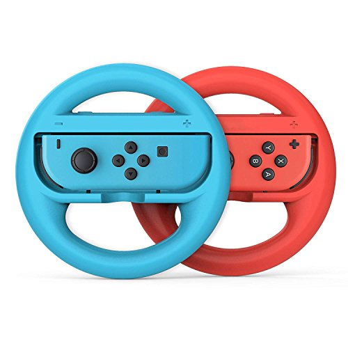 Price comparison product image Switch Steering Wheel Controller,  Joy-Con Racing Hand Grips for Nintendo Switch Mario Kartfor Nintendo,  Red and Blue (2 Pack)