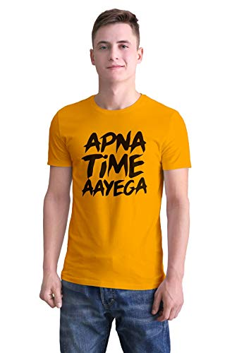 Boodbuck 180 GSM Bio-Washed 100% Cotton Half Sleeve Printed Regular Fit Funny Casual Quote T Shirt for Men (Design : Apna Time Aayega - Gully Boy,Color : Musterd, Size - XXL)