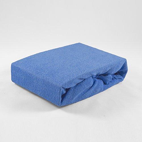 Frottee Spannbettlaken 70 x 140 cm blau Laken Bettlaken Babybett Spannbetttuch Betttuch