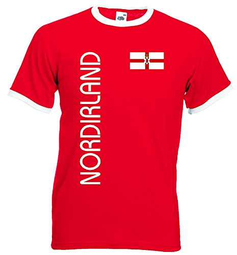 World-of-Shirt Herren Retro T-Shirt Nordirland Trikot EM 2016|rot-XL