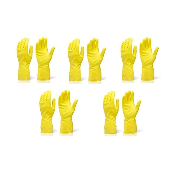 Arsa Medicare Waterproof Cleaning Gloves for Kitchen, Dish Washing, Laundry, Perfect For Garden Lightweight and Durable,Size: Large, FIVE Pairs