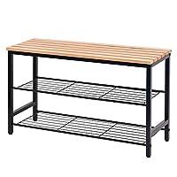 Hododou 3 Tier Shoe Rack Bench Shoe Storage Rack with Seat Beech Wood Top with Metal Frame for Hallway Living Room 80cm (Black)