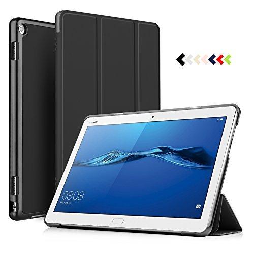 ELTD Hülle für Huawei MediaPad M3 Lite 10 - Ultra Schlank Smart Cover Tasche Schutzhülle Case für Huawei MediaPad M3 Lite 10 mit Standfunktion, Schwarz