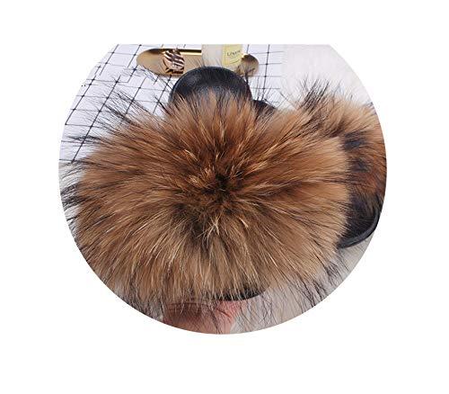 Hottest Faux Fox FurSlides Summer Beach Fluffy Slippers 100% Fur Flip Flops Sandals Shoes,Natural Raccoon Fur,10.5 -