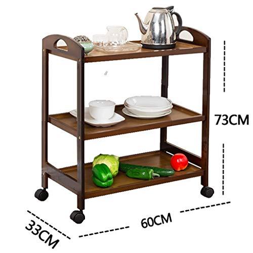 Shelf LYG Küche rollbare Zahnstange, Teegestellküche bewegliche fahrbare Karren-Speisewagenboden-Mehrschichtlagerregal (Farbe : A, größe : 60 * 33 * 73cm)