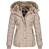 Marikoo Damen Winterjacke Jacke Mantel warm Wintermantel gefüttert Nekoo XS-XXL 5-Farben, Größe:S / 36, Farbe:Taupe