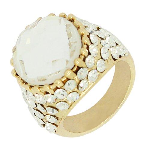Metall Gold Tone Ring With Strasssteine & Synthetische Edelstein (Vintage Look) - Größe: 8