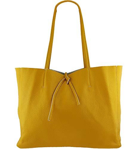 Leder Shopper Tasche (Freyday ORIGINAL Echtleder Shopper mit Innentasche in vielen Farben Schultertasche Henkeltasche (Senfgelb))