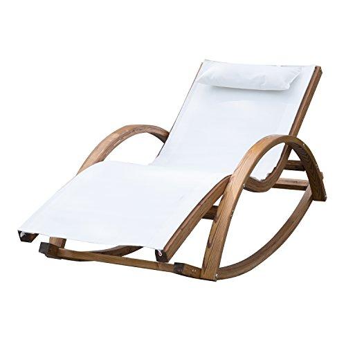 Outsunny Chaise Longue Fauteuil berçante à Bascule transat Bain de Soleil Rocking-Chair en Bois Charge 100kg Blanc