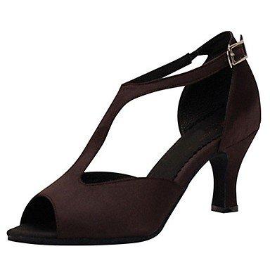 Ruhe @ Damen Salsa Ballsaal Latin Dance Schuhe Satin Sandalen/Heels Absatz Professional/innen braun Braun