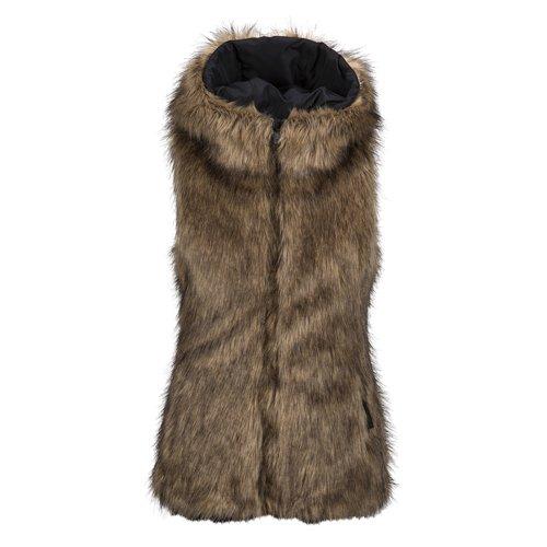 Volcom Rhea Faux Fur Vest Brown