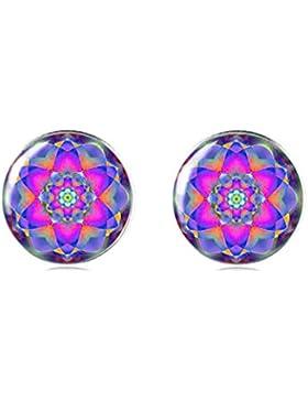 Tizi Jewellery Handgemachte Lila und Rosa 925 Sterling Silber Ohrringe Ohrstecker 12 mm für Damen und Mädchen...
