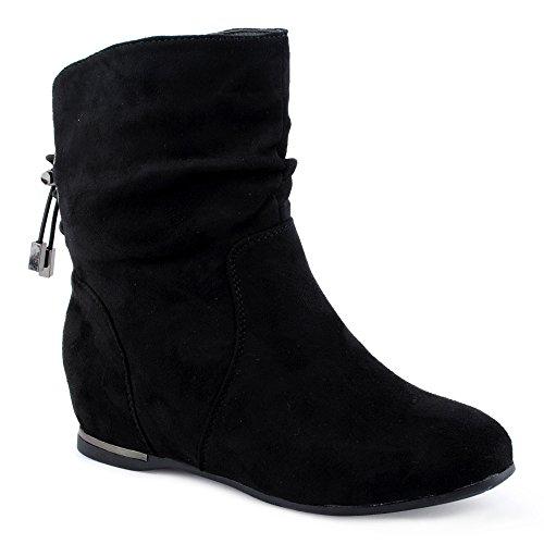 Damen Stiefeletten Schlupf Stiefel Reißverschluss Velours-Optik Schnür Boots Schuhe Schwarz EU 37