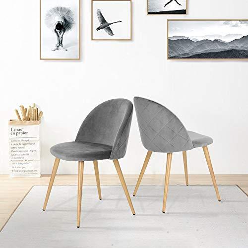 CLIPOP Juego de 2 sillas de Comedor tapizadas de Terciopelo con Respaldo y Patas de Transferencia de Metal para sillas de Comedor, salón y Dormitorio