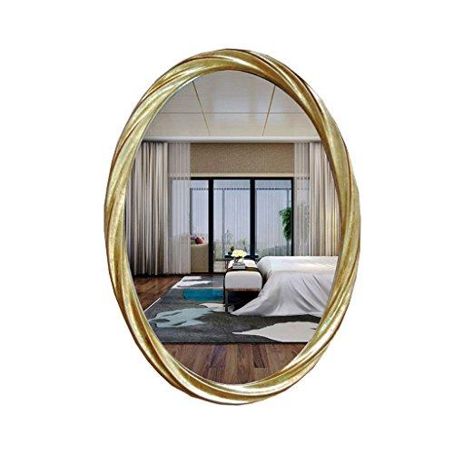 LEI ZE JUN UK- Spiegel Amerikanischen Oval wasserdichte Antike Gold PU Spiegel Bad Wohnzimmer Hintergrund Spiegel Schönheitssalon Spiegel Hängenden Wandspiegel Wandspiegel