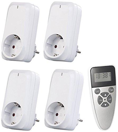 revolt Funk-Steckdosenadapter: 4er-Set Funksteckdosen mit Fernbedienung, Display, Timer, 1.150 Watt (Funk-Steckdose für Innenbereich)