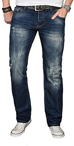 A. Salvarini Designer Herren Jeans Hose Jeanshose Regular Comfort gerades Bein [AS-060 - W34 L36]