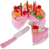 NF&E Kid Kitchen Pretend Play Set Pink Happy Birthady Cake Food Cutting Toys For Baby Toddler
