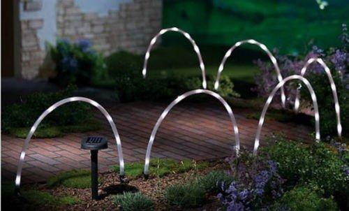 Garden Mile 6x Unique arqué LAMPES SOLAIRE BLANC lumières LED ECLAIRAGE DE JARDIN Tube Corde Post Allées éclairage, vif extérieur, 8 del extérieur