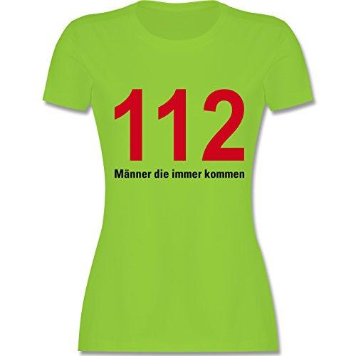 Feuerwehr - 112 - Männer die immer kommen - tailliertes Premium T-Shirt mit Rundhalsausschnitt für Damen Hellgrün