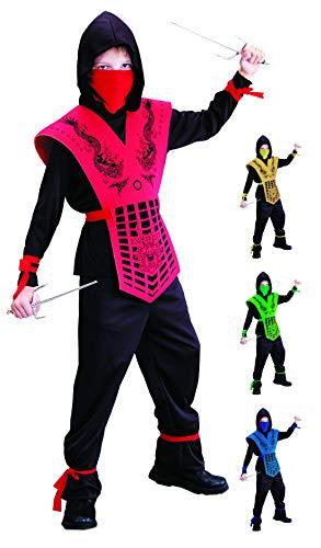 Foxxeo schwarz rotes Ninja Kostüm für für Jungen schwarzes Ninjakostüm Kinderkostüm Größe 110-116 (Rote Und Schwarze Ninja Kostüm)