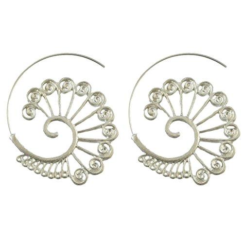 Sharplace 1 Stück Ethnischer Charme-Spiral form ohrringe Boho Stil Ohr Haken Damen Mode Ohr Schmuck für Hochzeit - Silber1
