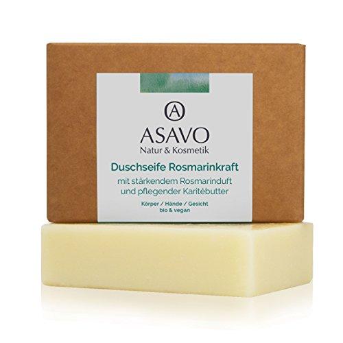 ASAVO Premium Naturseife Rosmarin, handgeschöpft, mit feiner Bio-Karitébutter, nativem Bio-Kokosöl & 100% ätherischen Ölen, vegan, ohne Palmöl, 95g -