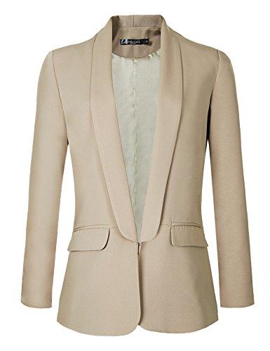 Urban GoCo Mujeres Blazers Chaqueta de Traje Slim Fit Elegante Oficina Negocios Outwear (XL, Caqui)