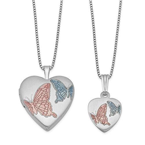 Sterling Silver Rhodium-plated Satin Enamel Butterflies Heart Locket & Pend Back-box Pend