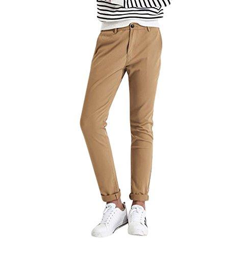 Dexinx Junge Männer Moderne Dünne Elastische Bund Sporthose Sommer Atmungsaktive Regelmäßige Länge Hosen Dunkles Khaki 28 -