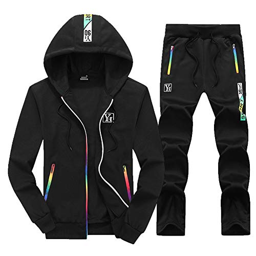 Mens Tracksuit Set, Hooded Casual Sportswear Full Zip-Up Jogging Sport Gym Sweatsuit Long Sleeve Spring Fall Men es Jacket and Pants,Black,XXXL Black Hooded Jogging-set