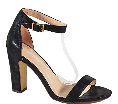 Damen Riemchen Abend Sandaletten High Heels Pumps Slingbacks Peep Toes Party Schuhe Bequem 252 (41, Schwarz)