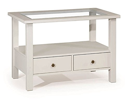 Legno&Design Table Basse Bois Massif avec 2 tiroirs et étagère en Verre Color Blanc