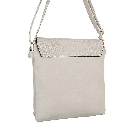Ital-Design, Borsa a spalla donna grigio chiaro