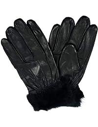 fa8521d7e3959b Weiches, echtes Leder-Touch-Screen-Handschuhe aus Kunstfell, Schwarz,  Smartphones
