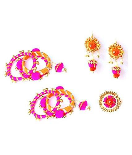 Virasat Handmade Lightweight Designer Gotta Patti Fabricated Bangles Earrings & Ring Set For Women/Color: Pink