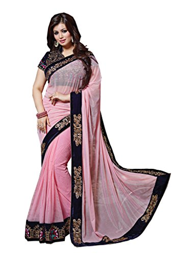 Arawins Women's Georgette Saree With Blouse Piece (Aw_Ayeshapink_Pink)