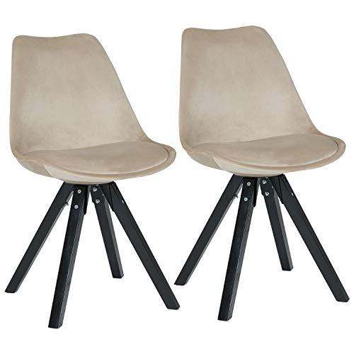 Duhome Elegant Lifestyle Stuhl Esszimmerstuhle Creme Beige Kuchenstuhle 2 Er Set Farbauswahl Mit Holzbeinen Sitzkissen Esszimmerstuhl Retro