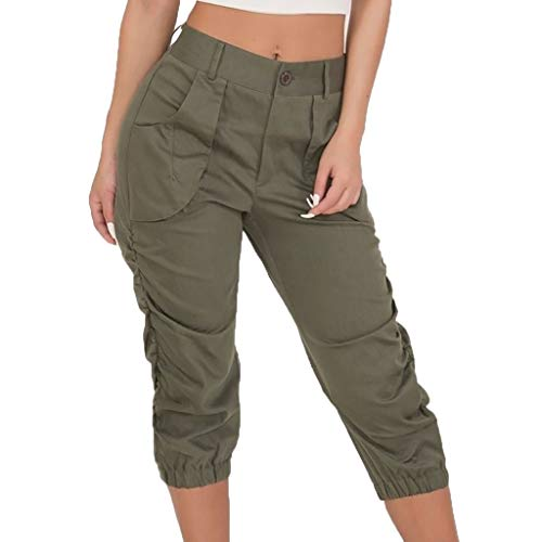 WOZOW Cargo Hosen Capri Damen Solid Midi Military Cargo Trousers Lose Loose Slim High Waist Cool Chino Casual Falten Gefaltet Chino Pant (Old School Halloween Kostüme Box)