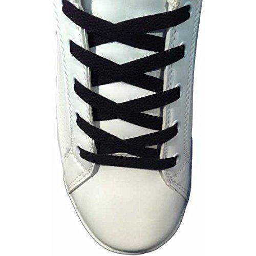 Paire Lacets Plats chaussures Noir - 150 cm 8 mm - basket tennis sneakers