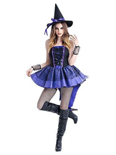 Jungs Für Rollenspiel Kostüme (Honeystore Damen Halloween Kostüme Rollenspiel Hexe Cosplay Spiel Uniform Allerheiligen Kleider für Hexensabbat Blau)