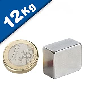 Aimant Bloc 18 x 15 x 10mm Néodyme N45H, Nickelé - force 12 kg