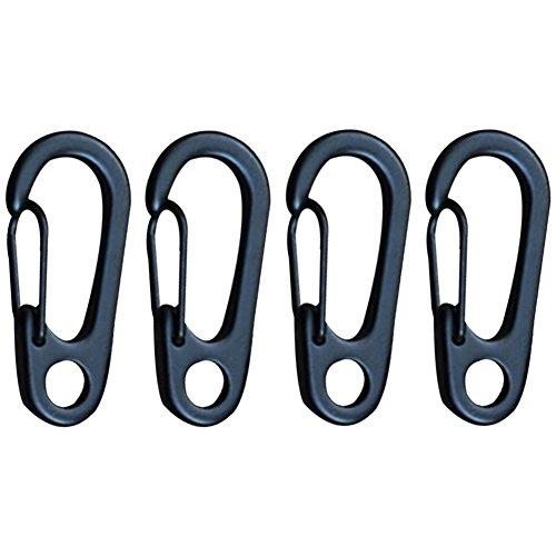 4 pcs d'attache médium en métal à ressort et mousqueton pouvant servir de porte-clés, de boucles, de crochet, Homme femme, noir