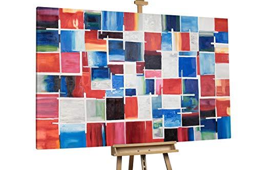 'Kleinkarierte Karos' 180x120cm | Absrakt bunte Quadrate XXL | Modernes Kunst Ölbild