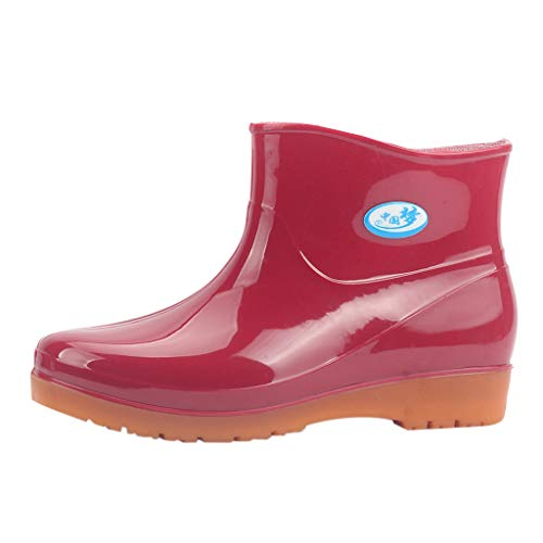 Damen Kurze Gummistiefel Flache Regenstiefel Kurzschaft Stiefel Bequeme Regenschuhe Schlupfstiefel wasserdichte Gummistiefeletten Celucke (Rot, 40 EU)