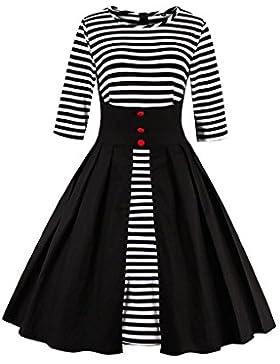 Botomi La d¨¦cada de 1950 rayas Plisado una linea de swing Coctel Vestido de fiesta