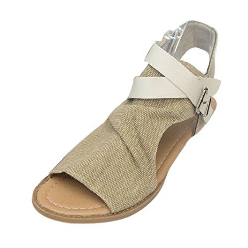 VJGOAL Damen Sandalen, Damen Mädchen Mode Hanf Roma Fisch Mund Schuhe Flache Ferse Solide Knöchelriemen Party Slipper Frau Geschenk (40 EU, Beige)