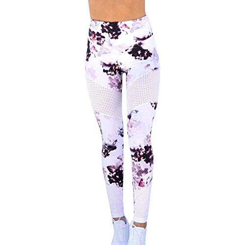 ngs Damen Lang, Frauen Yoga Hosen Pilates Strumpfhose Hohe Taille Yoga Hose Nähte Gedruckt Sport Workout Fitness Gymnastik Stretch Leggings Sportlich Hosen (Weiß, L) ()