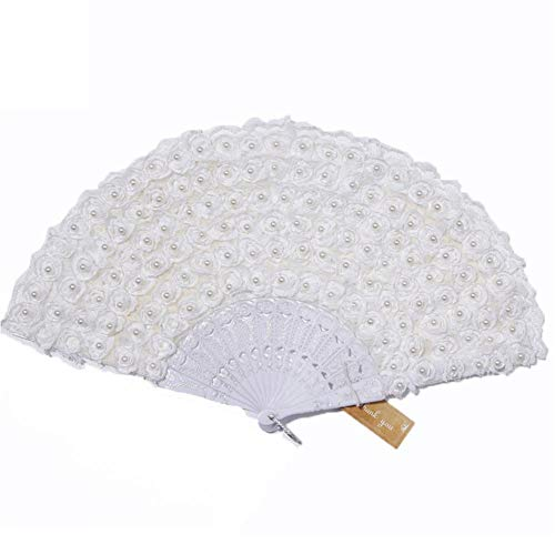 Fan-prop (HEIRAO Handheld Lace Fan for Wedding Bride Supplies Photo Shooting Props)