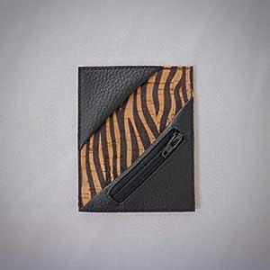 Kreditkartenetui Cardholder Herrengeldbeutel Visitenkarten Etui tablet Kork Zebra schwarz Münzfach RFID-secure…